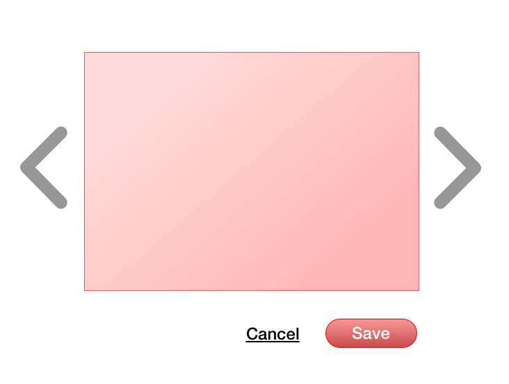 An square with next and previous buttons next to it and with a cancel link and a save button underneath